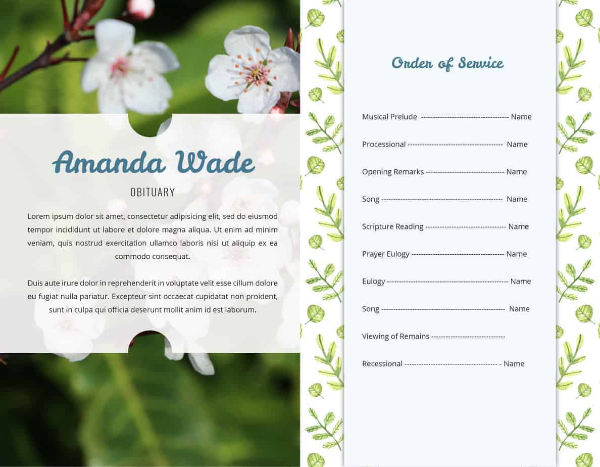 Free Funeral Program Template - Green Leaf Patten and Large Photo